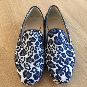 J. Crew Blue leopard loafers